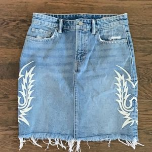 All Saints Embroidered Jean Skirt Sz.6